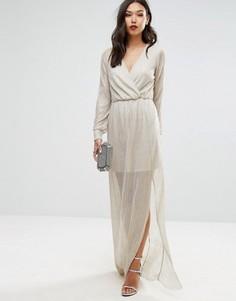 Золотистое платье макси с запахом Club L - Золотой