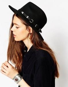 Фетровая шляпа с двумя пряжками в стиле вестерн ASOS - Новая улучшенная посадка - Черный