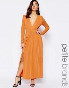 Платье макси с декольте и разрезом до бедра Lipstick Boutique Petite - Оранжевый