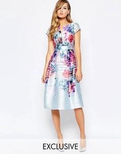 Приталенное платье с ярким цветочным принтом True Violet - Мульти