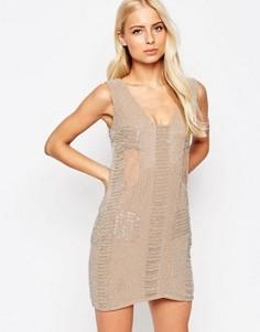 Расшитое бисером платье Walter Baker Toni - Розовый