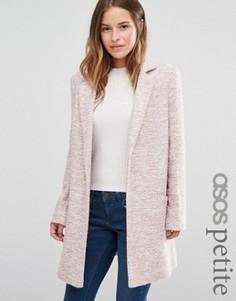 Фактурное пальто свободного кроя ASOS PETITE - Розовый
