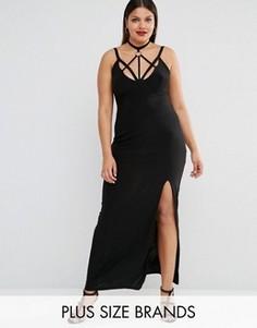 Платье макси с отделкой лямками и разрезом до бедра Club L Plus - Черный