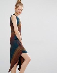 Асимметричное платье миди из жаккардовой ткани в горошек BCBG Max Azria - Мульти