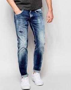 Темные винтажные джинсы слим с потертостями Replay Anbass - Синий