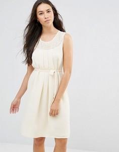 Белое платье без рукавов с завязкой на талии Lavand - Белый