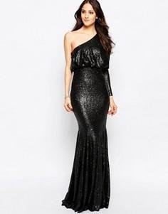 Платье макси на одно плечо с отделкой пайетками Forever Unique Tempest - Черный