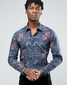 Строгая рубашка узкого кроя с принтом Devils Advocate - Темно-синий