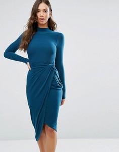 Асимметричное платье с высоким воротом Wal G - Зеленый