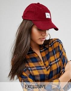Бордовая вельветовая кепка Herschel Exclusive - Красный
