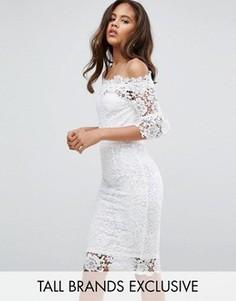 Кружевное платье‑футляр с широким вырезом Paper Dolls Tall - Белый
