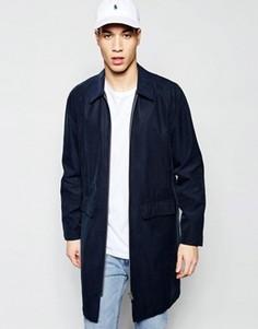 Темно-синее пальто на молнии спереди ASOS - Темно-синий
