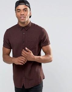 Бордовая рубашка классического кроя с короткими рукавами New Look - Красный