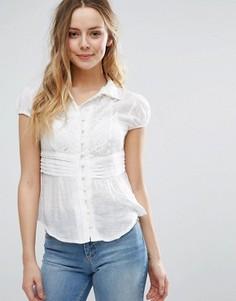 Рубашка с кружевной вставкой на груди Jasmine - Белый