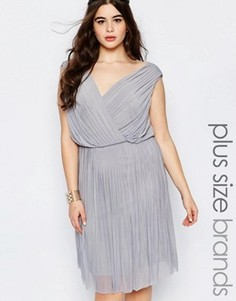 Платье в складку с запахом спереди Lovedrobe Plus - Серый