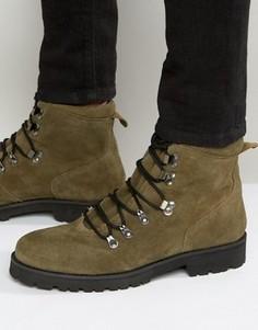 Замшевые походные ботинки цвета хаки ASOS - Зеленый