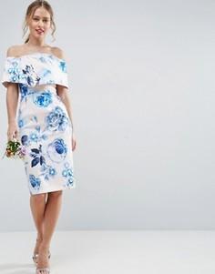 Розовое платье-футляр миди с открытыми плечами и цветочным принтом ASOS WEDDING - Мульти