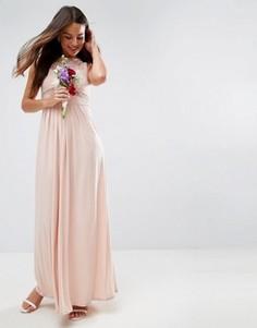 Платье макси с кружевным топом и плиссировкой ASOS WEDDING - Розовый
