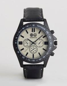 Черные часы с дополнительными циферблатами Crosshatch - Черный