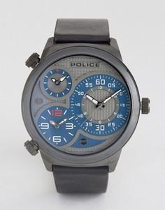 Мужские часы с черным кожаным ремешком и серо-синим многофункциональным циферблатом Police Elapid - Черный