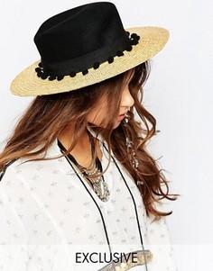 Соломенная шляпа с контрастным черным верхом и помпонами Catarzi - Бежевый