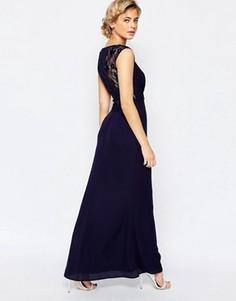 Платье макси с кружевной спинкой Elise Ryan - Темно-синий