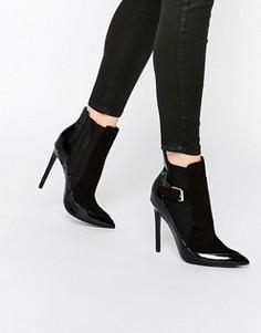 Черные лакированные ботинки челси на каблуке Paper Dolls Ryder - Черный