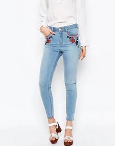 Облегающие укороченные джинсы с вышивкой ASOS RIDLEY - Синий