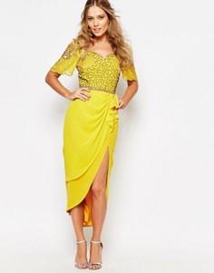 Платье миди с разрезом до бедра Virgos Lounge Laila - Желтый