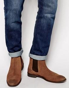 Коричневые замшевые ботинки челси с петлей на заднике ASOS - Рыжий