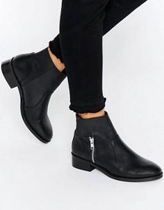 Кожаные байкерские ботинки ASOS AMPLIFY - Черный