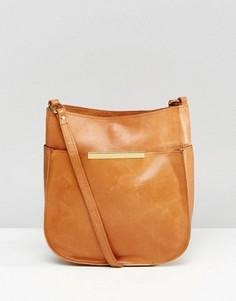 Закругленная снизу кожаная сумка через плечо в винтажном стиле ASOS - Рыжий