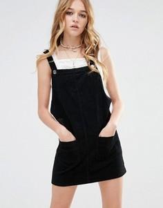 Сарафан из вельвета в мелкий рубчик с накладными карманами Glamorous - Черный