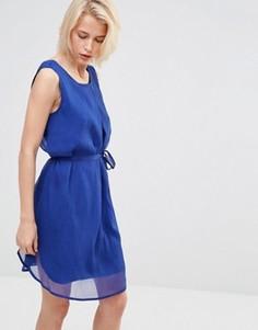 Ярко-синее платье с завязкой на поясе Lavand - Синий