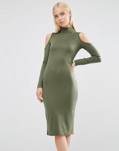 Облегающее платье с вырезами на плечах и молнией Club L - Зеленый