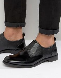 Черные кожаные туфли с эластичной вставкой ASOS - Черный