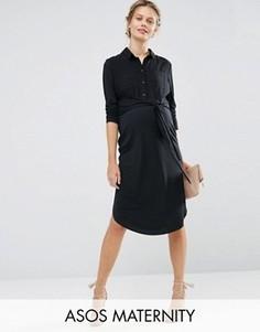 Платье-рубашка миди с завязкой спереди ASOS Maternity - Серый