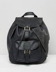 Кожаный рюкзак с карманом спереди ASOS - Черный