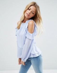 Блузка с вырезами и рюшами на плечах ASOS - Синий