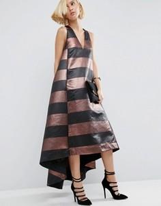 Полосатое платье макси с эффектом металлик ASOS WHITE - Мульти
