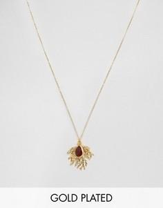 Ожерелье с подвеской‑папоротником и камнем Ottoman Hands - Золотой