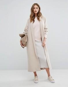 Пальто макси с шалевым воротником Missguided - Бежевый