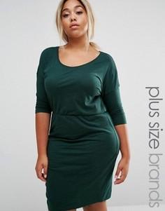 Трикотажное платье с рукавами 3/4 и присборенной талией Junarose - Зеленый