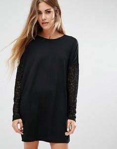 Вязаное платье-джемпер с кружевными рукавами JDY - Черный