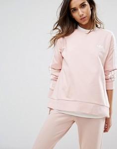 Розовый свитшот с тремя полосками adidas Originals - Розовый