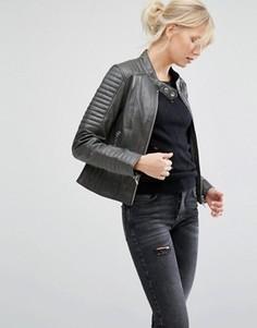 Кожаная байкерская куртка со стеганой отделкой Barneys Originals - Серый