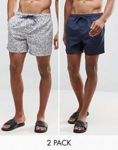 2 пляжных шорт темно-синего цвета и с цветочным принтом Bravesoul - Темно-синий