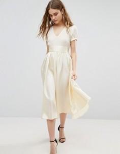 Платье миди с короткими рукавами Traffic People - Кремовый