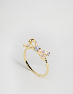 Кольцо ограниченной серии с эмалированным бантиком - Золотой Asos