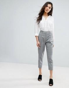 Укороченные брюки в клетку New Look - Серый